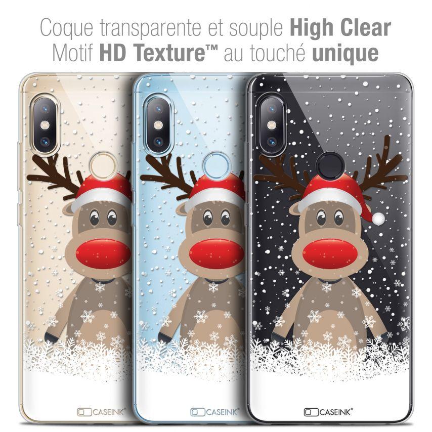 "Carcasa Crystal Gel Extra Fina Xiaomi Redmi Note 5 (5.99"") Noël 2017 Cerf au Bonnet"