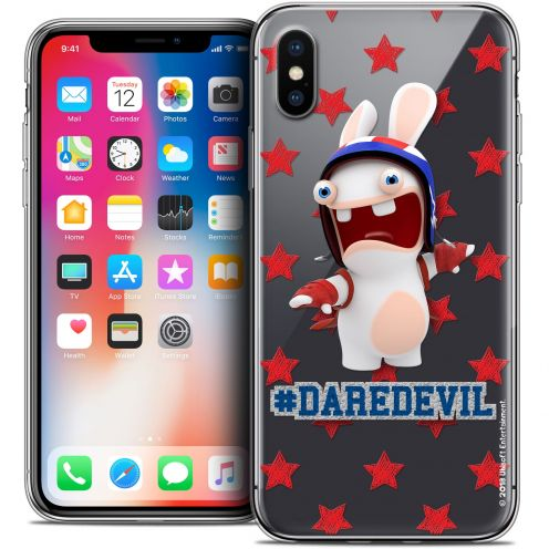 Carcasa Crystal Gel Apple iPhone X (10) Lapins Crétins™ Dare Devil