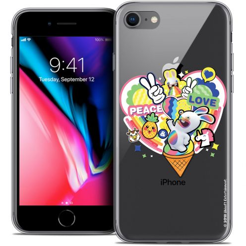 "Carcasa Crystal Gel Apple iPhone 8 (4.7"") Lapins Crétins™ Peace And Love"