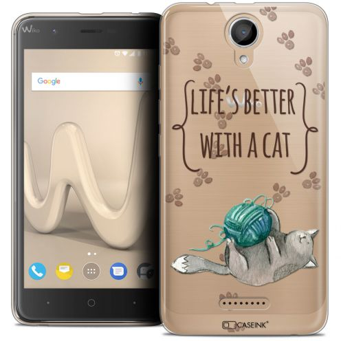 "Carcasa Crystal Gel Extra Fina Wiko Harry (5"") Quote Life's Better With a Cat"