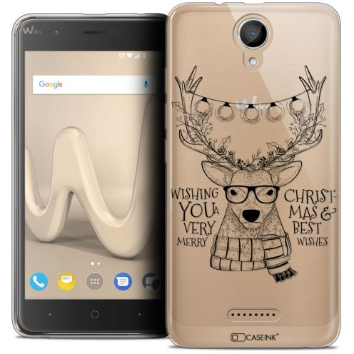 "Carcasa Crystal Gel Extra Fina Wiko Harry (5"") Noël 2017 Cerf Hipster"