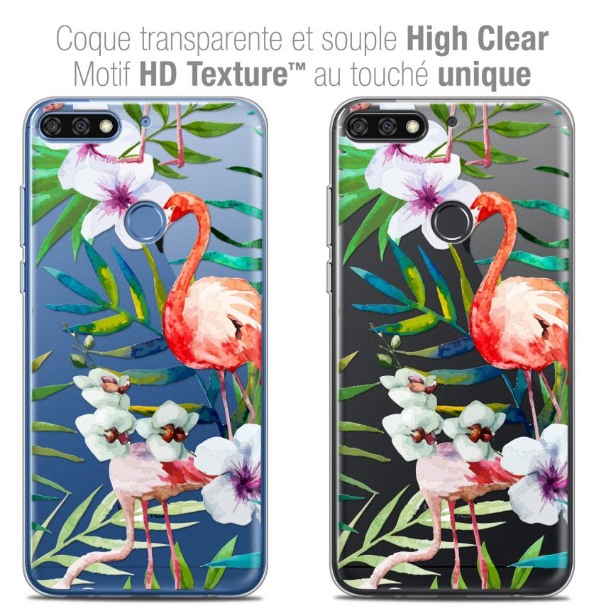 "Carcasa Crystal Gel Extra Fina Honor 7C (5.99"") Watercolor Tropical Flamingo"