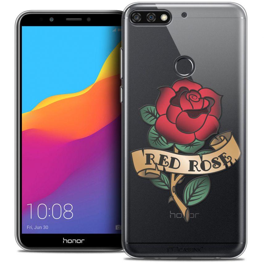 "Carcasa Crystal Gel Extra Fina Honor 7C (5.99"") Tatoo Lover Red Rose"