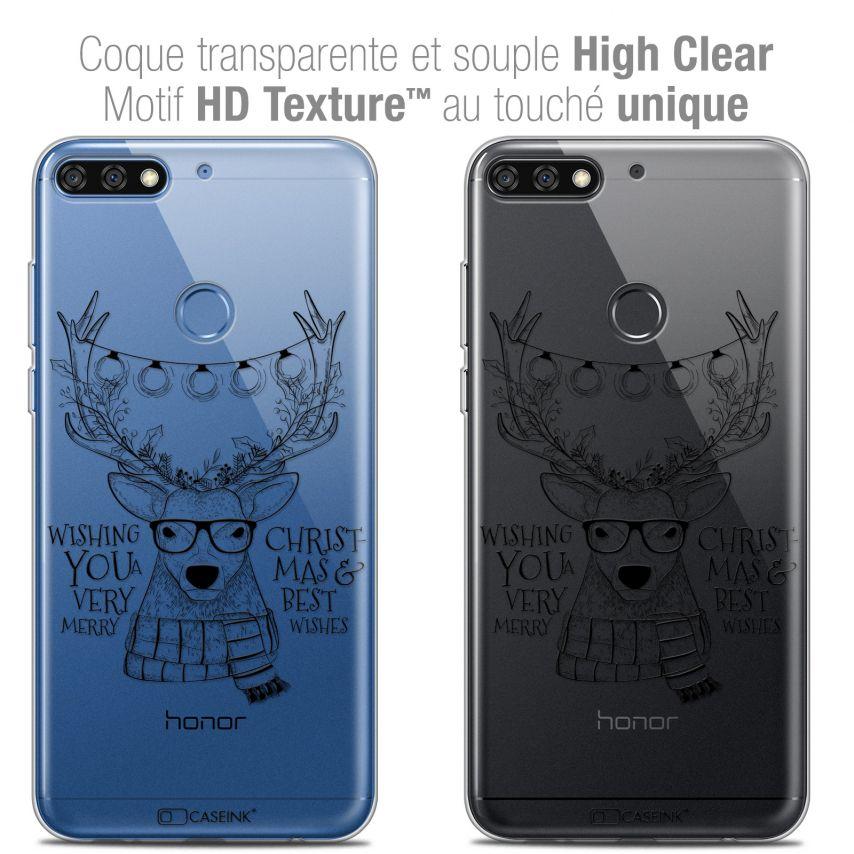"Carcasa Crystal Gel Extra Fina Honor 7C (5.99"") Noël 2017 Cerf Hipster"