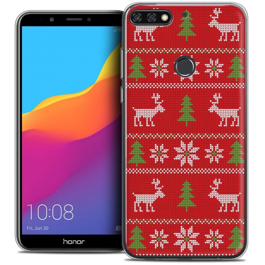 """Carcasa Crystal Gel Extra Fina Honor 7C (5.99"""") Noël 2017 Couture Rouge"""