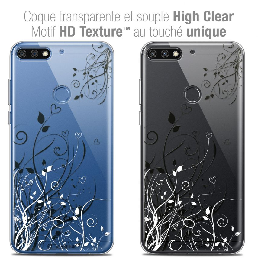 "Carcasa Crystal Gel Extra Fina Honor 7C (5.99"") Love Hearts Flowers"