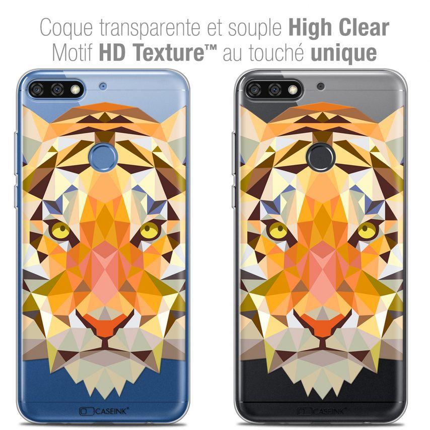 "Carcasa Crystal Gel Extra Fina Honor 7C (5.99"") Polygon Animals Tigre"