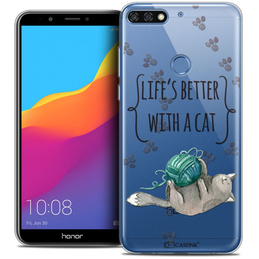"""Carcasa Crystal Gel Extra Fina Honor 7C (5.99"""") Quote Life's Better With a Cat"""