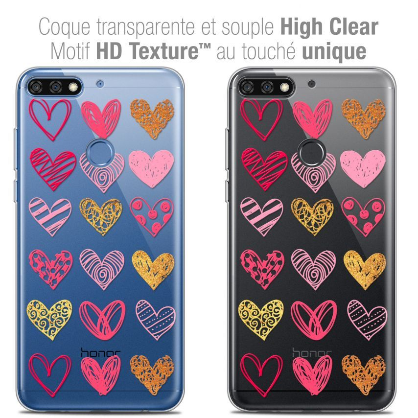 "Carcasa Crystal Gel Extra Fina Honor 7C (5.99"") Sweetie Doodling Hearts"