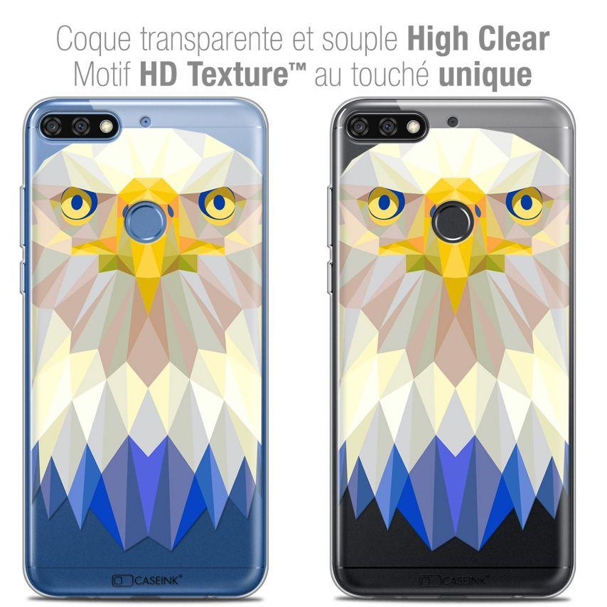 "Carcasa Crystal Gel Extra Fina Honor 7C (5.99"") Polygon Animals Águila"