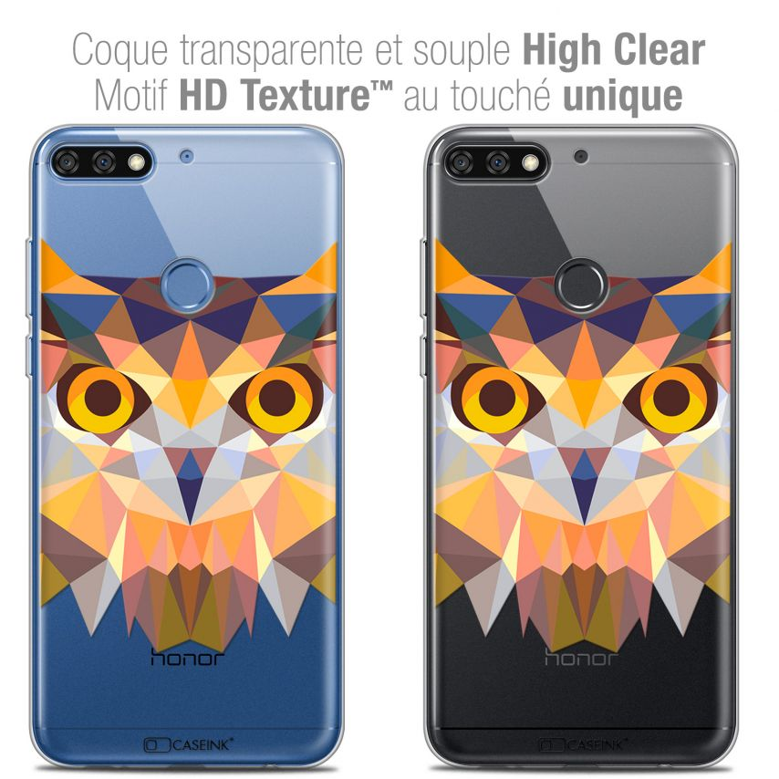 "Carcasa Crystal Gel Extra Fina Honor 7C (5.99"") Polygon Animals Búho"