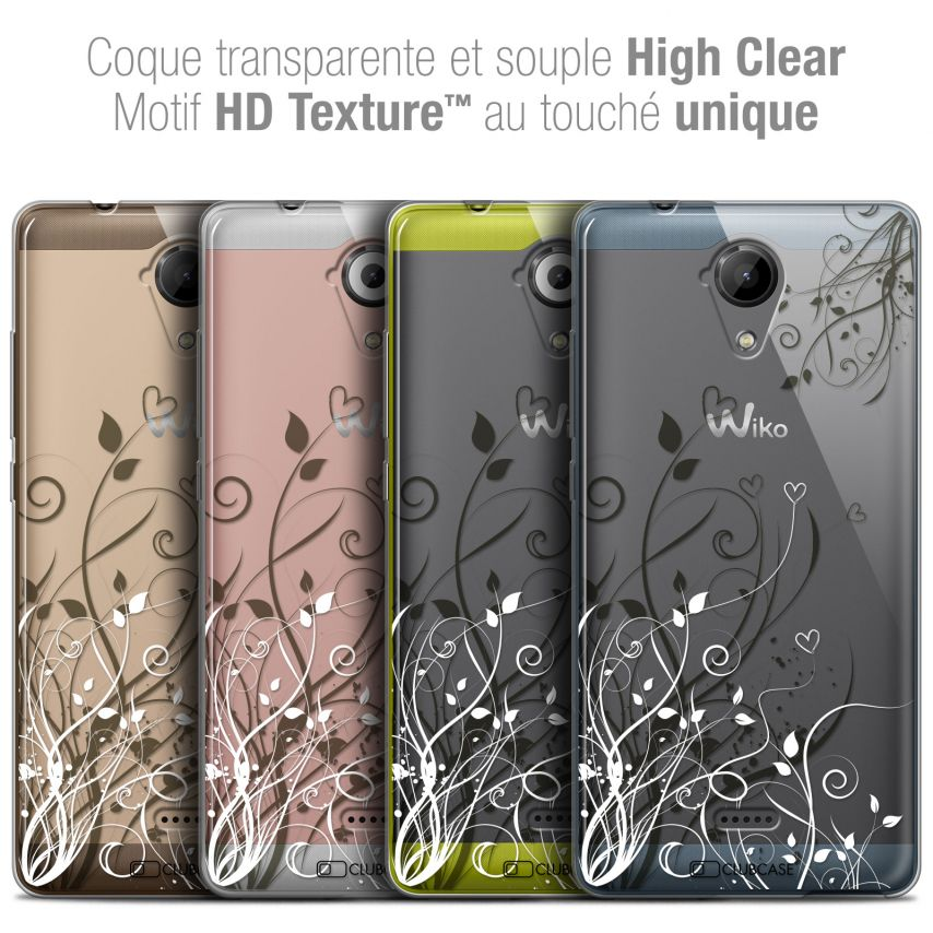 Carcasa Crystal Gel Extra Fina Wiko U Feel LITE Love Hearts Flowers