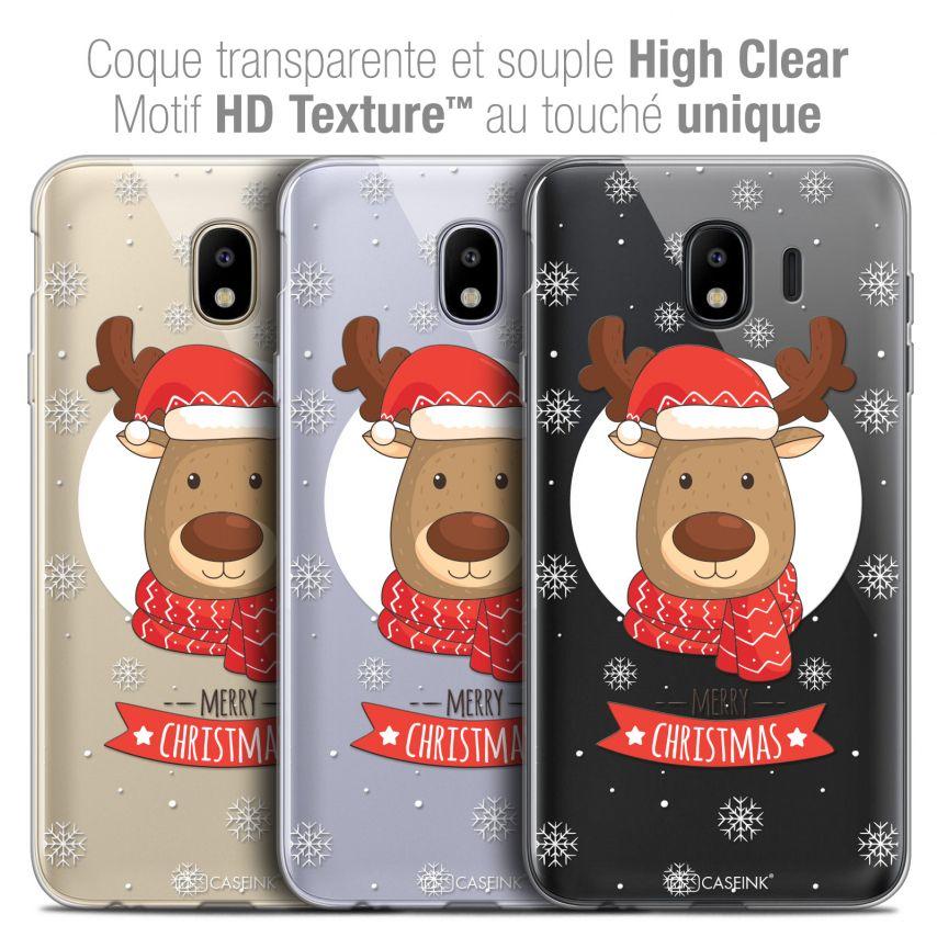 "Carcasa Crystal Gel Extra Fina Samsung Galaxy J4 2018 J400 (5.5"") Noël 2017 Cerf à Echarpe"