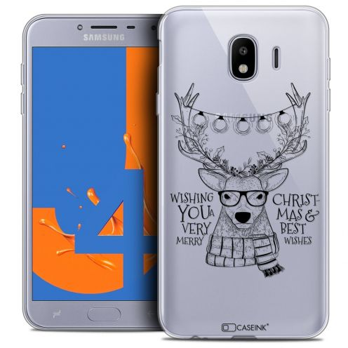 "Carcasa Crystal Gel Extra Fina Samsung Galaxy J4 2018 J400 (5.5"") Noël 2017 Cerf Hipster"