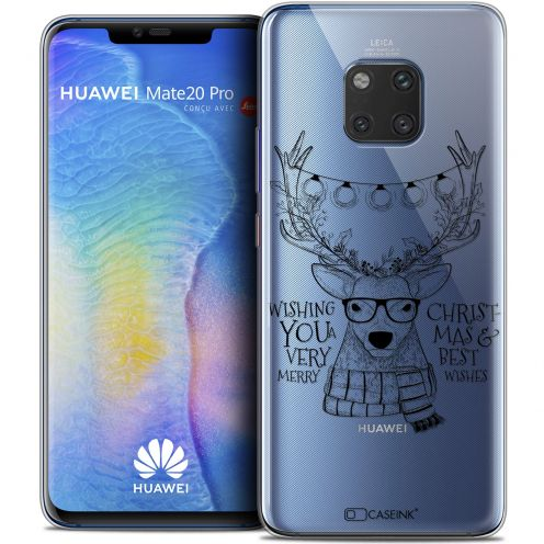 "Carcasa Crystal Gel Extra Fina Huawei Mate 20 PRO (6.4"") Noël 2017 Cerf Hipster"
