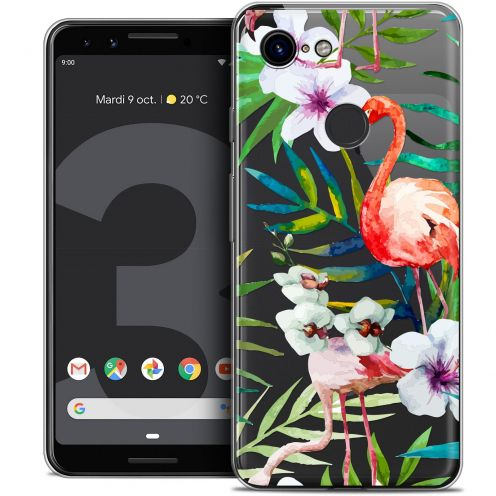 "Carcasa Crystal Gel Extra Fina Google Pixel 3 (5.5"") Watercolor Tropical Flamingo"