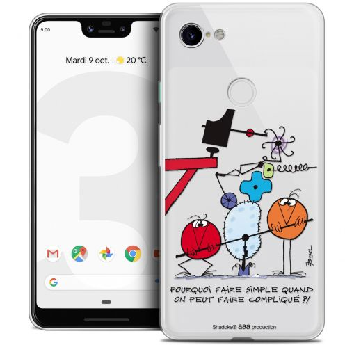 "Carcasa Crystal Gel Extra Fina Google Pixel 3 XL (6.3"") Les Shadoks® Pourquoi faire Simple"