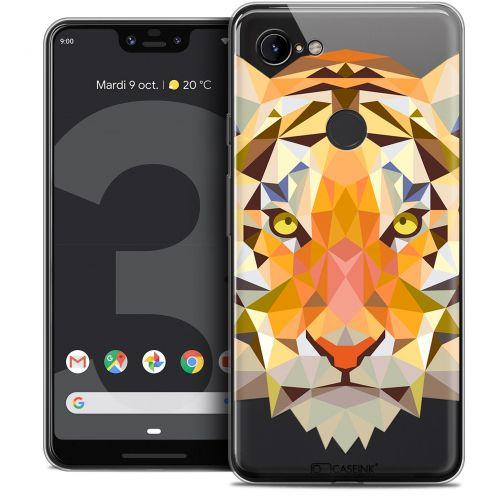 "Carcasa Crystal Gel Extra Fina Google Pixel 3 XL (6.3"") Polygon Animals Tigre"