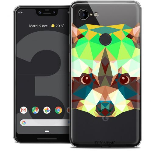 "Carcasa Crystal Gel Extra Fina Google Pixel 3 XL (6.3"") Polygon Animals Raton Laveur"