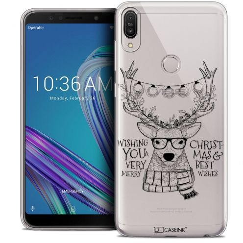 "Carcasa Crystal Gel Extra Fina Asus Zenfone Max Pro (M1) ZB601KL (6"") Noël 2017 Cerf Hipster"
