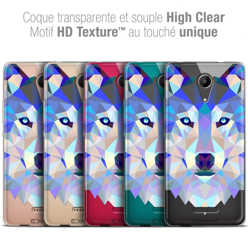 "Carcasa Crystal Gel Extra Fina Wiko Tommy 2 (5"") Polygon Animals Lobo"