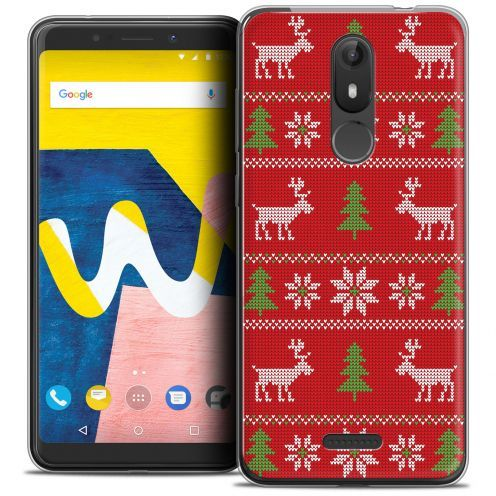 """Carcasa Crystal Gel Extra Fina Wiko View LITE (5.45"""") Noël 2017 Couture Rouge"""