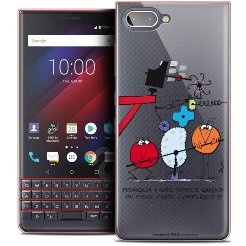 "Carcasa Crystal Gel Extra Fina BlackBerry Key2 LE (4.5"") Les Shadoks® Pourquoi faire Simple"