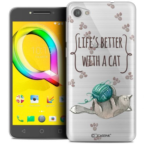 "Carcasa Crystal Gel Extra Fina Alcatel A5 LED (5.2"") Quote Life's Better With a Cat"