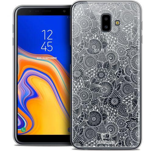"Carcasa Crystal Gel Extra Fina Samsung Galaxy J6 Plus J6+ (6.4"") Dentelle Florale Blanc"