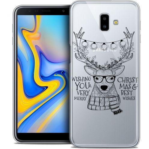 "Carcasa Crystal Gel Extra Fina Samsung Galaxy J6 Plus J6+ (6.4"") Noël 2017 Cerf Hipster"