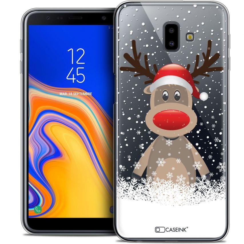 """Carcasa Crystal Gel Extra Fina Samsung Galaxy J6 Plus J6+ (6.4"""") Noël 2017 Cerf au Bonnet"""