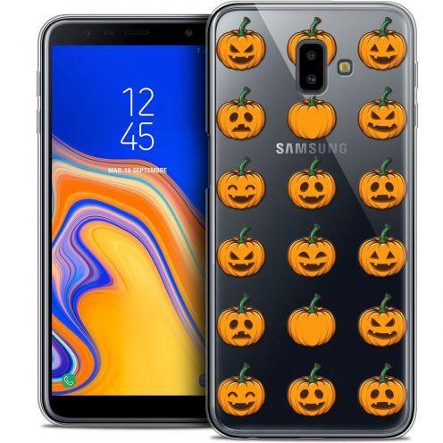 "Carcasa Crystal Gel Extra Fina Samsung Galaxy J6 Plus J6+ (6.4"") Halloween Smiley Citrouille"