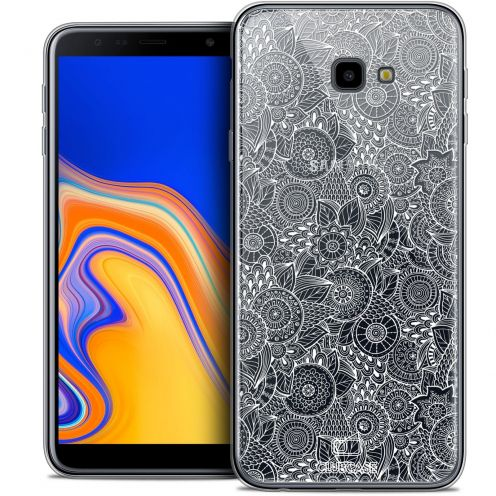 "Carcasa Crystal Gel Extra Fina Samsung Galaxy J4 Plus J4+ (6"") Dentelle Florale Blanc"
