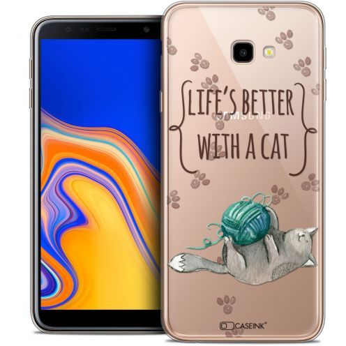 """Carcasa Crystal Gel Extra Fina Samsung Galaxy J4 Plus J4+ (6"""") Quote Life's Better With a Cat"""