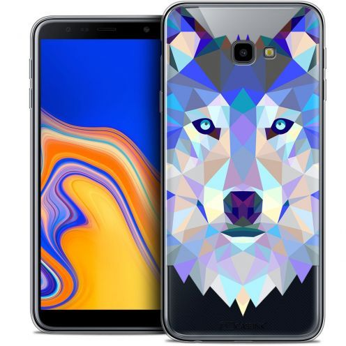 "Carcasa Crystal Gel Extra Fina Samsung Galaxy J4 Plus J4+ (6"") Polygon Animals Lobo"