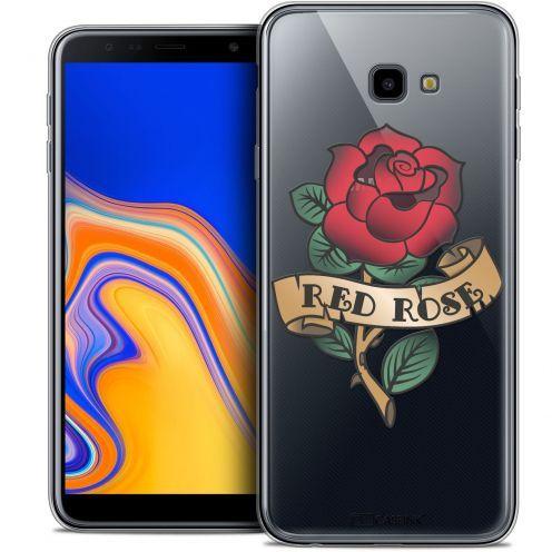 "Carcasa Crystal Gel Extra Fina Samsung Galaxy J4 Plus J4+ (6"") Tatoo Lover Red Rose"