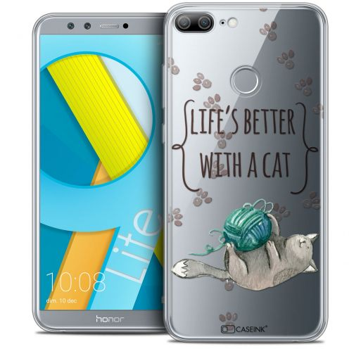 """Carcasa Crystal Gel Extra Fina Huawei Honor 9 LITE (5.7"""") Quote Life's Better With a Cat"""
