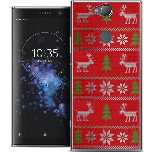 """Carcasa Crystal Gel Extra Fina Sony Xperia XA2 PLUS (6"""") Noël 2017 Couture Rouge"""