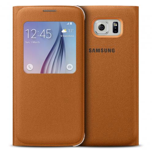 Funda Folio Oficial Samsung S View Cover Fabric Naranja para GalaxyS6