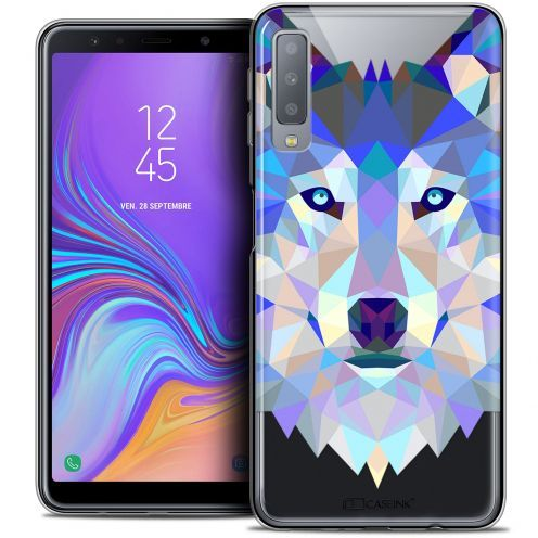 "Carcasa Crystal Gel Extra Fina Samsung Galaxy A7 (2018) A750 (6"") Polygon Animals Lobo"
