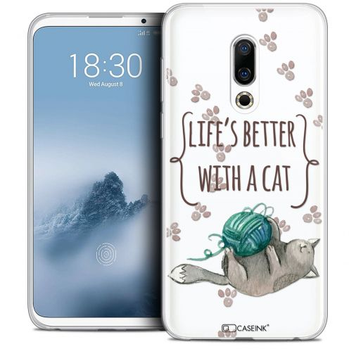"Carcasa Crystal Gel Extra Fina Meizu 16 (6"") Quote Life's Better With a Cat"