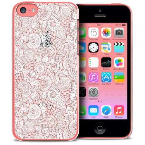 Carcasa Crystal Extra Fina iPhone 5C Colección Encaje de Flores - Blanco