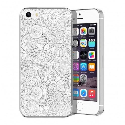 Carcasa Crystal Extra Fina iPhone 5/5S Colección Encaje de Flores - Blanco