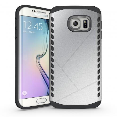 Funda Anti-Golpes Galaxy S6 Edge Slim Shield Defender - Plata