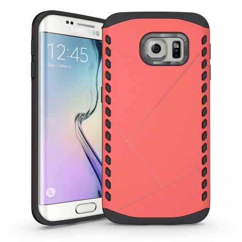 Funda Anti-Golpes Galaxy S6 Edge Slim Shield Defender - Rojo