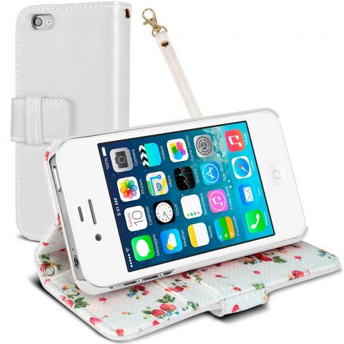 Funda Portafolio iPhone 4S / 4 Country Floral Blanca