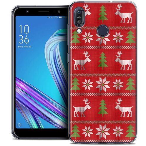 """Carcasa Crystal Gel Extra Fina Asus Zenfone Max (M1) ZB555KL (5.5"""") Noël 2017 Couture Rouge"""