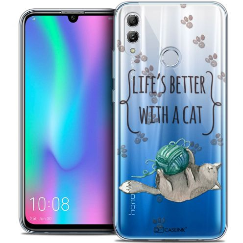 """Carcasa Crystal Gel Extra Fina Huawei Honor 10 LITE (5.8"""") Quote Life's Better With a Cat"""