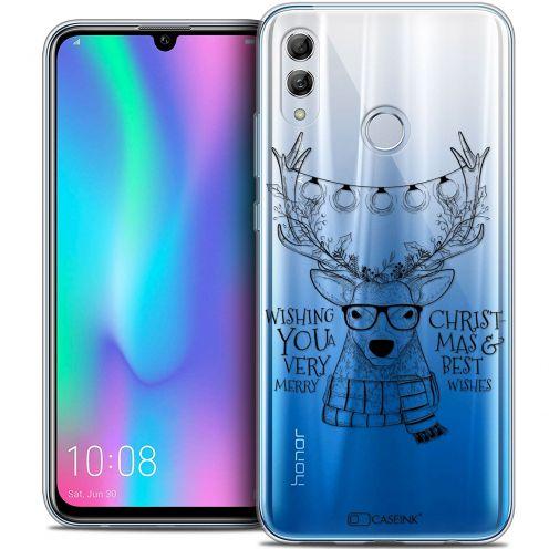 "Carcasa Crystal Gel Extra Fina Huawei Honor 10 LITE (5.8"") Noël 2017 Cerf Hipster"