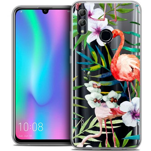 "Carcasa Crystal Gel Extra Fina Huawei Honor 10 LITE (5.8"") Watercolor Tropical Flamingo"